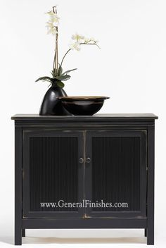 Unfinished Furniture chest finished with Millstone Milk Paint, then over-painted with Lamp Black Milk Paint, then distessed to show the color underneath from the gang at General Finishes. Like Annie Sloan Chalk Paint? - try this from GeneralFinishes.com