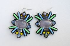 Abstract Opal Pastel and Black Resin Earrings, Handmade Art Deco Earrings by TheLastRoe on Etsy