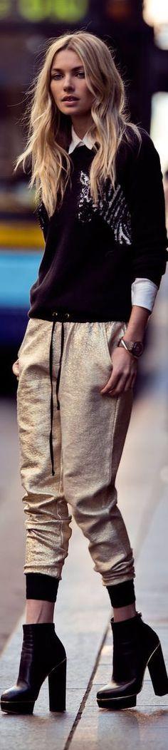 gold track pants