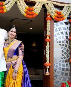 Golden yellow and royal blue bridal saree-