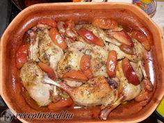 Kemencés kacsacombok cseréptálban Sausage, Grilling, Chicken, Food, Sausages, Crickets, Essen, Meals, Yemek