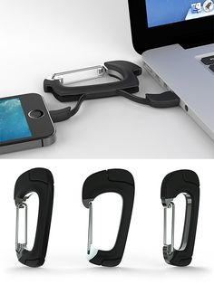 NomadClip Carabiner Charging Cable - Carabiners are good for keeping things hanging around. And inside this one there's a charging cable. Choose Micro-USB or Apple-certified MFi Lighting connector and when you're not charging up, it just hangs. | Werd