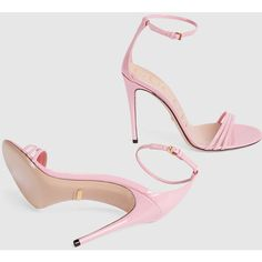 Gucci Patent Leather Sandal ($620) ❤ liked on Polyvore featuring shoes, sandals, gucci shoes, gucci, light pink shoes, ankle tie sandals and high heels sandals