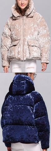 Crushed Velvet Hooded Puffer Down Jacket - Apricot, Blue, Pink, or Light Blue