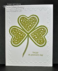 handmade card: Stamping Inspiration: St. Patrick's Day ... shamrock of layered hearts on an embossed frame card front ... luv how the three hearts fit perfectly together at the center ... Stampin'Up!
