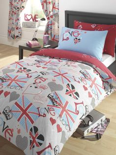 Love Rock Union Jack Duvet Cover and Pillowcase Set - Kids Bedroom