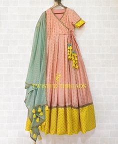 Peach Yellow Twisted Threads Anarkali – come Pakistani Dresses Casual, Indian Gowns Dresses, Indian Fashion Dresses, Pakistani Dress Design, Indian Designer Outfits, Indian Outfits, Stylish Dresses For Girls, Stylish Dress Designs, Designs For Dresses