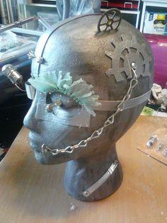 steampunk head Mosaic Projects, Art Projects, Jewelry Store Displays, Styrofoam Head, Steampunk Artwork, Wig Hat, Mobile Boutique, Skull Mask, Steampunk Wedding