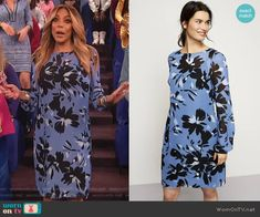 e6d6885c0b87 Wendy s blue floral print long sleeve dress on The Wendy Williams Show