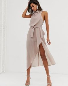 Shop ASOS DESIGN drape neck midi dress in textured fabric with self belt. With a variety of delivery, payment and return options available, shopping with ASOS is easy and secure. Shop with ASOS today. Wedding Outfits For Women, Satin Rose, Robes Midi, Going Out Dresses, Latest Dress, Mi Long, Satin Dresses, Satin Midi Dress, Pop Fashion