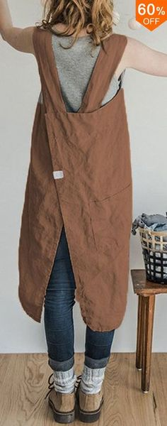 Roll over image to zoom in Vintage Women Solid Pockets Linen Cotton Dress shipping. Roll over image to zoom in Vintage Women Solid Pockets Linen Cotton Dress Sewing Clothes, Diy Clothes, Sewing Aprons, Ladies Clothes, Dress Sewing, Vestidos Country, Vestidos Vintage, Apron Dress, Cotton Dresses
