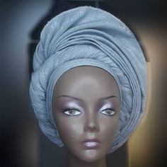 New Trend alert, now you can join the trendy crew in this Pre-tied Autogele headgear in different colours. Wear this in 30 Seconds. Its a Free Size with ajustable strap so anyone can wear one. Aso-Oke Fabric Gele Head-Tie in a New Trendy Style for that El African Lace Dresses, African Dresses For Women, African Attire, African Fashion Dresses, Hand Fans For Wedding, Head Scarf Styles, African Traditional Dresses, Head Wrap Scarf, Headgear