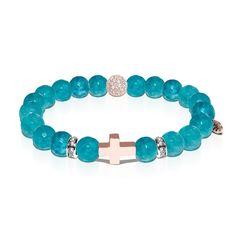 St. Sebastian | Rose Gold Cross | Amazon Jade Bracelet