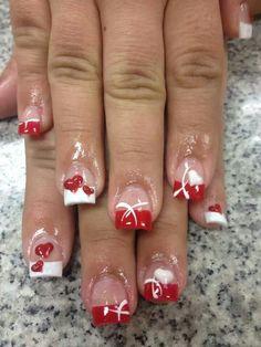 Nail Tip Designs, Holiday Nail Designs, French Nail Designs, Colorful Nail Designs, Christmas Gel Nails, Holiday Nails, Fancy Nails, Cute Nails, Valentine Nail Art