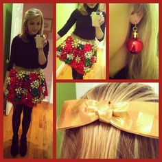 Got An Ugly Christmas Sweater Party To Go To? Hot Glue Tinsel And Gift Bows To Make A Spectacularly Tacky Skirt...Click On Picture To See How To Make This...