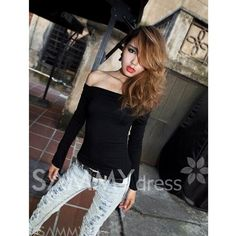 $6.05 Sexy Off-the-Shoulder High Elastic Cotton Long Sleeve T-Shirt For Women