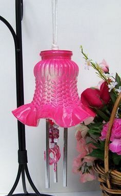 Dark Pink Light Shade Windchime Glass Globe Wind by Pink Light Shades, Glass Light Shades, Diy Wind Chimes, Globe Lights, Recycled Crafts, Diy Crafts, Antique Glass, Mobiles, Glass Art