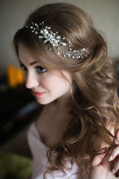 Купить Украшение для волос Свадебный веночек - белый, украшение для волос, свадьба, выпускной, свадебное украшение
