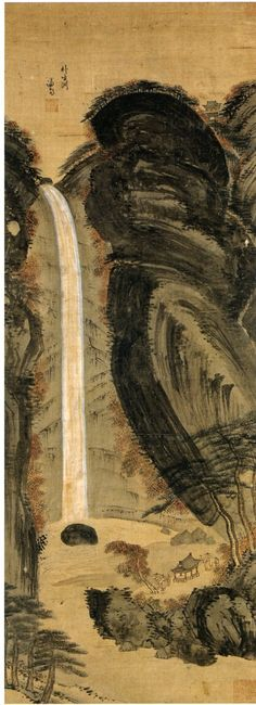 (Korea) 박생연 in Mt Geumgang by Gyeomjae Jeong Seon (謙齋 鄭敾:1676-1759). ca 18th century CE. color on silk. Joseon Kingdom, Korea.