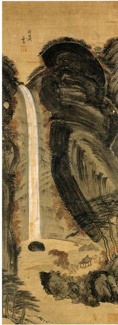 (Korea) 박생연 in Mt Geumgang by Gyeomjae Jeong Seon (謙齋 鄭敾:1676-1759). ca 18th century CE. color on silk. Joseon Kingdom, Korea.