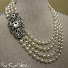 Pearl Wedding Necklace Set  Art Deco Great by AlexiBlackwellBridal