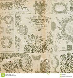 Antique Floral Montage Background