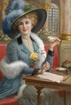 sipping tea....Emile Vernon~1872-1919.... http://www.pinterest.com/e7sim/%D0%B4%D0%B5%D0%B2%D1%83%D1%88%D0%BA%D0%B8-%D0%B8-%D1%86%D0%B2%D0%B5%D1%82%D1%8B/
