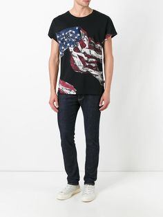 Just Cavalli camiseta con estampado de bandera Flags, T Shirt, Pants, Tops, Women, Fashion, Printed Tees, Fashion Branding, Supreme T Shirt