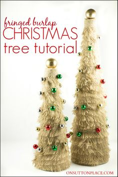 Easy step by step directions to create your own fringed burlap Christmas tree. Budget friendly yet festive!