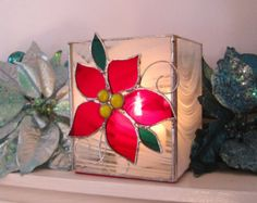 Christmas Poinsettia Stained Glass Candle Holder