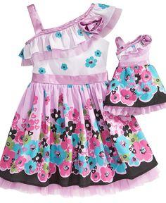 Sweet Heart Rose Dollie & Me Kids Dress, One Shoulder Dress & Matching Doll Dress
