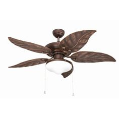 @Overstock - This stylish 48-inch ceiling fan features two lights with a white opal glass shade. This five-blade ceiling fan features a rubbed finish, leaf-style blades and a three-speed pull chain.http://www.overstock.com/Home-Garden/Outdoor-48-inch-Rubbed-Bronze-2-light-Ceiling-Fan/6165574/product.html?CID=214117 $170.99