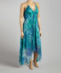 Love this Aqua Watercolor Handkerchief Dress - Plus by Life and Style Fashions on #zulily! #zulilyfinds