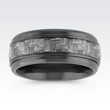 ShaneCo.com: Weave Pattern Black Titanium Comfort Fit Ring (9mm)