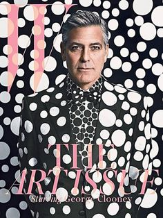 George Clooney for W magazine in collaboration with Yayoi Kusama. Giorgio Armani suit, shirt, and shoes, customized by Yayoi Kusama. Styled by Michael Kucmeroski. Photography by Emma Summerton