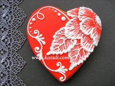 Имбирный пряник Цветок с вышивкой кистью. Вышивка и кружево на пряниках. Роспись пряников, мастер-класс, видео