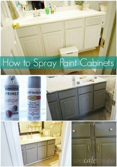 How to spray paint cabinets Bathroom Makeover. Learn how to spray paint cabinets and decorate a small bathroom on a budget. Spray Paint Cabinets, Painting Bathroom Cabinets, Spray Paint Countertops, Rustoleum Spray Paint Colors, Grey Bathroom Cabinets, Diy Spray Paint, Bathroom Countertops, Chalk Paint, Home Renovation