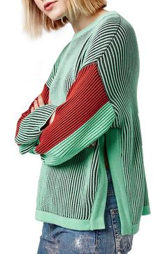 Topshop Colorblock Crewneck Sweater available at #Nordstrom
