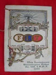 Odd Fellows FLT Eye in Sky Fraternal 1910 Lodge 400 Bloomington IN Indiana | eBay