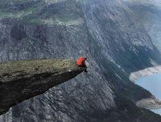 This shot is taken on a Norway's cliff Prekestolen (also known as Preacher's Pulpit)