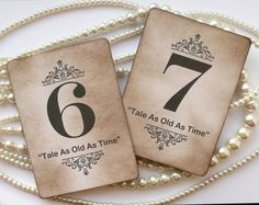 Wedding Table Numbers - Vintage Charm with QUOTES - All Handmade in the UK - Your Color Choice. $42.50, via Etsy.