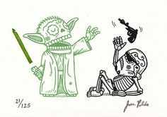 Yoda Calavera Gocco Print by misnopalesart, via Flickr