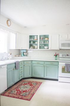After white, blue is probably one of the most well-liked kitchen colors. It's classic, calming, and adds color without feeling too in-your-face. ideas modern ideas diy ideas decoration ideas on a budget ideas color kitchen ideas Updated Kitchen, New Kitchen, Kitchen Decor, Kitchen Corner, Cheap Kitchen, Mint Kitchen, Country Kitchen, Beige Kitchen, Natural Kitchen