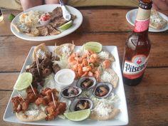 El Salvador food, delicious seafood platter.