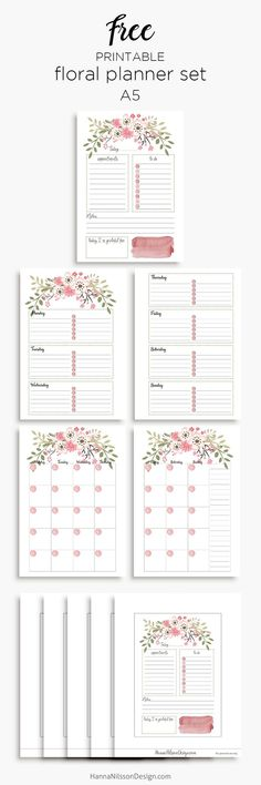 Pink floral planner calendar inserts | A5 and Personal – Hanna Nilsson Design