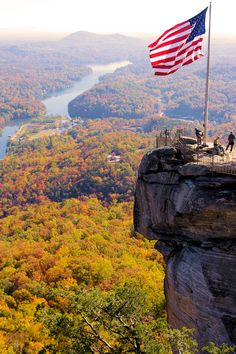 Fall color at Chimney Rock State Park in North Carolina mountains.