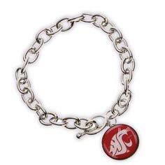 WSU Cougar Bracelet- Silver plated toggle bracelet. Crimson with white cougar logo on drop charm. Silver plated.