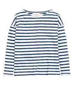 Shirt mit U-Boot-Ausschnitt   Weiß/Dunkelblau gestreift   Damen   H&M DE