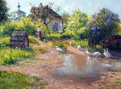 Vladimir Zhdanov is a Russian painter, that mainly focuses on the Siberian landscapes, old Russian cities and royal palaces, still life and portraits, etc. He is very famous in Russia and outside the country. Russian Painting, Russian Art, Russian Culture, Landscape Art, Landscape Paintings, Art Canard, Cottage Art, Painting Gallery, Beautiful Paintings