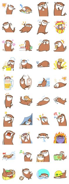 Kotsumetti of Small-clawed otter Line Sticker - Rumors City Otter Love, Cute App, Emoji Stickers, Fantasy Comics, Avatar, Like Animals, Vinyl Toys, Line Sticker, Kawaii Art